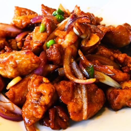 Pebbles Chicken with hot pepper and onion