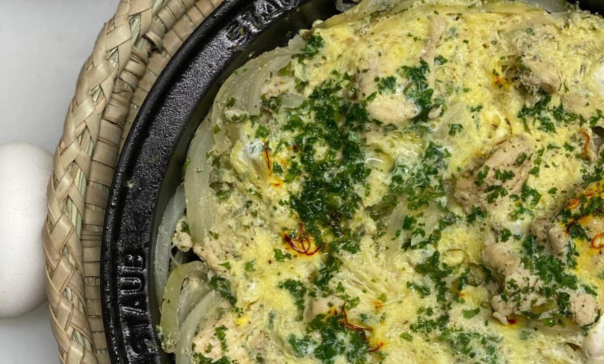 Chicken with Saffron & Egg Omelet Tagine